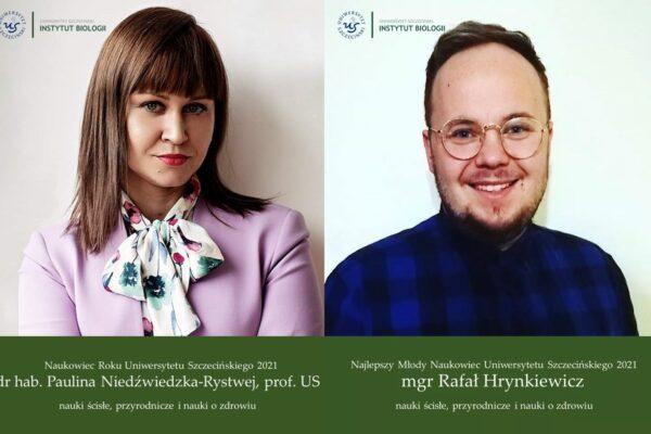 Pracownicy Instytutu Biologii Laureatami konkursów na Naukowca Roku US oraz Najlepszego Młodego Naukowca US!
